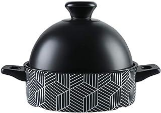 Olla Tagine marroquí con Tapa roja, cazuela de cerámica Vaporizador Sartén Cacerola Saludable Olla de Barro para estofar Cocina Lenta Negro 1.37 Cuartos