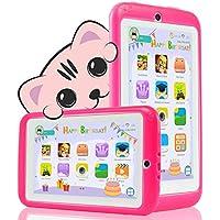 YESTEL Tablet para Niños 7 Pulgadas Android 8.1 Tableta Infantil y Quad Core 2GB RAM y  32GB ROM de WiFi y Bluetooth IPS HD 1024 * 600 Dual Camera Entertainment Education-Rojo