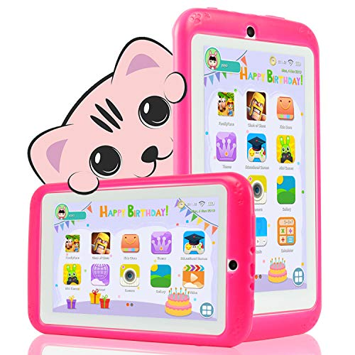 tablet bimbi YESTEL Tablet per Bambini 7 Pollici Android 8.1 Kids Tablet e Quad Core 2 GB RAM e 32 GB Rom con Wi-Fi e Bluetooth 1024 * 600 IPS Doppia Fotocamera Educazione Allo Spettacolo Tablet per Bambini-Rosa