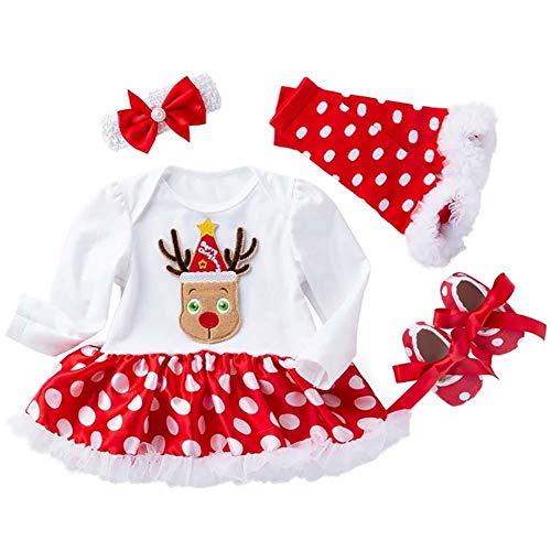 Ynnxia 4 STKS Set Kerst Jurk Baby Meisjes Lange Mouw Rok Katoen Jumpsuit Romper Kleding Wit Kant voor Pasgeboren Baby Meisje