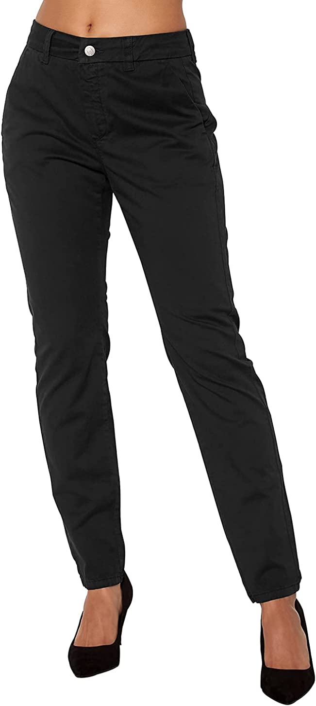 Womens Mid-Rise Comfortable-Fit Slightly Stretchy Chino Pants Cotton Casual Work Pants