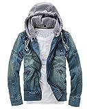 Small-Dream-Shop Mens Jackets Male Denim Jacket Detachable Hooded Men Denim Jacket Denim Jacket Jeans M 5XL,Blue,M