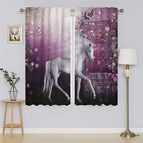 Fantasy House Decor Collection - Cortinas opacas con bloqueo de calor y luz completa para dormitorio (152 x 163 cm)