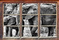 KAIASH ウォールステッカー3Dルックの壁またはドアステッカー壁ステッカー壁ステッカー壁装飾92x62cmの若い動物の窓の横にあるモノクローム象の牛