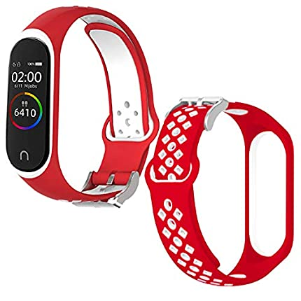 Th-some Correa para Xiaomi Mi Band 4 / Mi Band 3, Agujero de Aire Transpirable Colorido Suave Silicona Bracelet de Repuesto Deportivo, Correa de Silicona Suave Reemplazable Pulsera, Rojo