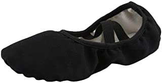 staychicfashion Women's Canvas Ballet Slippers Practice Yoga Flat Shoes Split Belly Shoes(7, Black Band)