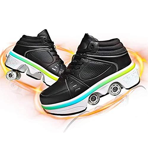 Women's Retractable Roller Skates Outdoor Girls Kick Roller Shoes Boys 2-in-1 Multi-Purpose Shoes Adjustable Quad Roller Skates Boots,Black~led,EU 40(US 9)