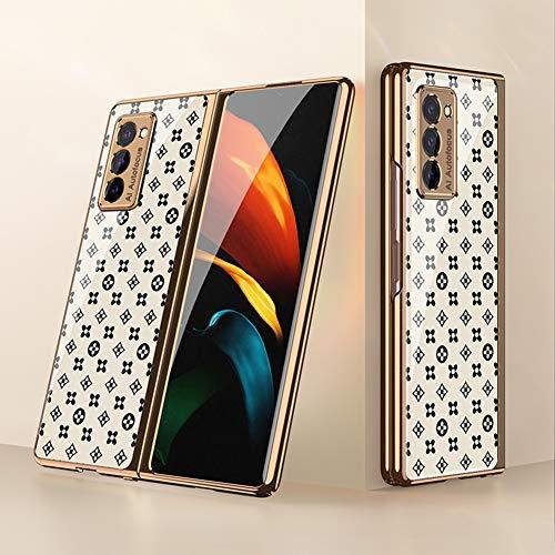 BaiFu Coque pour Samsung Galaxy Z Fold2 5G Etui, Mince PC + 9H Verre Trempé Housse Étui de Protection Mince et Anti, Choc Cover pour Samsung Galaxy Z Fold2 5G, Herbe Blanche