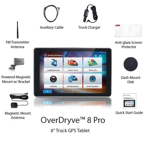 "Rand McNally OverDryve 8 Pro 8"" Truck GPS Tablet with Dash Cam and Bluetooth New Hampshire"