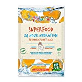 Superfood 24 Hour Calming Turmeric Hydration Face Mask, Cruelty-Free, Vegan Sheet Mask with Aloe Vera for Soothing Skin (Pack of 12)