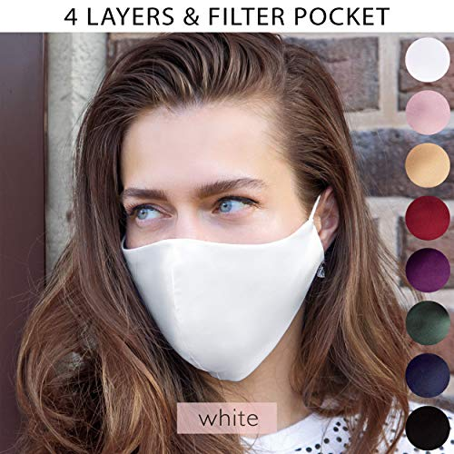 Wedding White Satin Silk Face Mask with Filter Pocket for Bride Guests Bridesmaids Groom Reusable Washable 4 Layer | Handmade in US