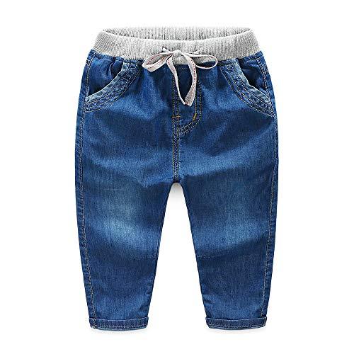 Wanlianer Baby- und Jungenjeans Die Kinder-Babyjeans-Hose mit elastischer Taille (Farbe : Navy blau, Größe : 110cm)