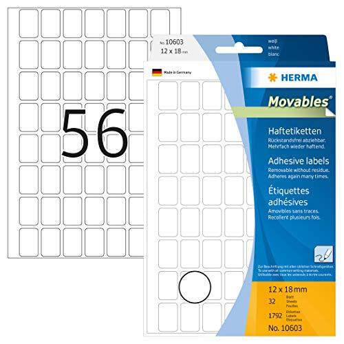Herma 10603 - Etiquetas multiuso, 12 x 18 mm, papel mate, 1792 unidades, color blanco ⭐