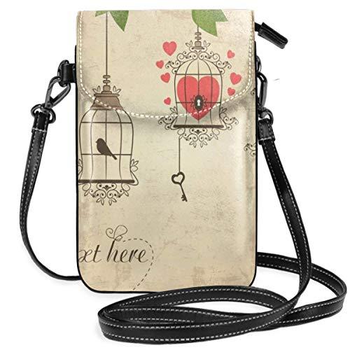 Ahdyr Kleine Umhängetasche Handy Geldbörse Brieftasche Retro Vogelkäfige Reisepass Tasche PU Lederhandtaschen für Frauen