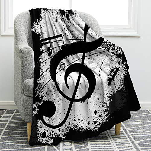 Jekeno Music Note Blanket Double Sided Print Throw Blanket Soft Comfortable for Sofa Chair Bed Office 50