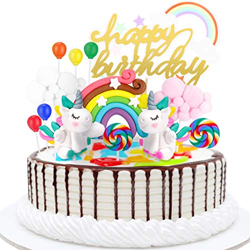 joylink Tortendeko Einhorn Geburtstag Kuchen, Einhorn Kuchen Topper 13er Set Geburtstag Tortendeko Regenbogen, Luftballon und Einhorn, Cake Topper für Kindergeburtstag, Hochzeit, Party
