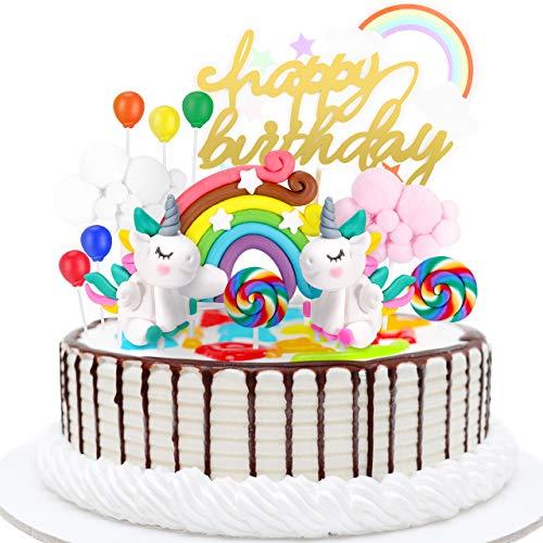 joylink Unicornio Decoración de Tartas, Unicorn Cake Topper Decoracion Unicornio Cake con Arcoiris y Globo Cumpleaños Decoración de La Torta del Banquete de Boda (13Piezas)