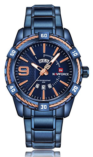 Naviforce - Reloj de pulsera para hombre, analógico, de cuarzo, correa de acero inoxidable, resistente al agua, para hombre