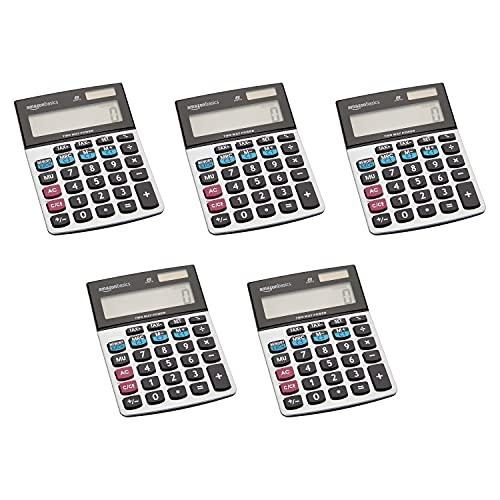 Amazon Basics LCD 8-Digit Desktop Calculator, Silver - 5 Pack