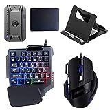 Juego de ratón convertidor de teclado RGB para juegos de una mano con cable 35 teclas Teclado retroiluminado de arco iris de sensación mecánica + juego combinado de ratón RGB para juegos + convertidor