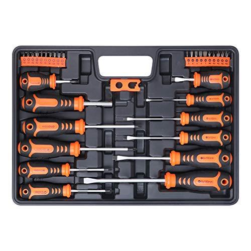 BRIMIX 33 piezas juego de destornilladores magnéticos con caja organizadora y magnetizador. Incluye punta cabezal Phillips, Plano, Pozidriv y Torx
