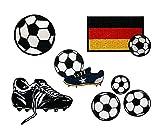 Mono-Quick{322} para Reparaciones imágenes de fútbol Set, 5 Teilig, diseños de fútbol, 2,0 x 2,0 cm, hasta 7,5 x 5,0 cm, poliéster, Bordado Hilo de rayón Viscosa