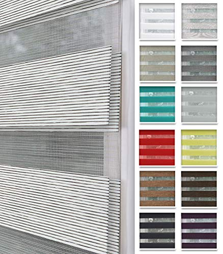 Home-Vision® Duo Rollo nach Maß, Doppelrollo ohne Bohren mit Klämmträgern, Rollos für Fenster und Türen (Weiß-Braun-Melange, B40-44cm x H150cm)