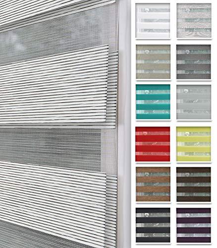 Home-Vision® Duo Rollo nach Maß, Doppelrollo ohne Bohren mit Klämmträgern, Rollos für Fenster und Türen (Weiß-Braun-Melange, B106-110cm x H150cm)