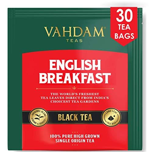 Englisches Frühstück Schwarzer Tee (30 Teebeutel) | HIGH ENERGY & CAFFEINE - Gesunder Kaffeeersatz | Starke, robuste und aromatisierte schwarze Teebeutel | Kombucha-Tee, Milchtee | ANTIOXIDANTS RICH