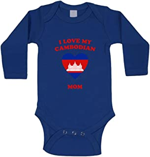 I Love My Cambodian Mom Long Sleeve Baby Bodysuit One Piece Royal Blue 18 Months