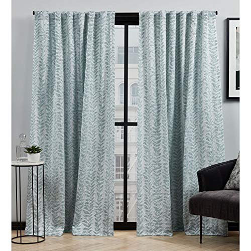 Elle Decor Ellis Botanical Light Filtering Back Tab Rod Pocket Curtain Panel Pair, 54x84, Seafoam