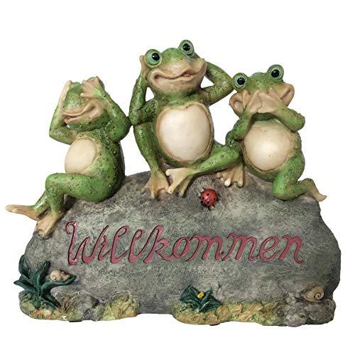 OF Gartenfiguren für außen - Willkommen Schild 3 Frösche - Garten Deko Figuren Frosch - Wetterfest