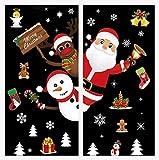 Xinmeng Noël Autocollants Fenetre DIY Fenêtres Stickers Mignonne Renne Autocollant de Verre Amovibles Réutilisable Statique Stickers Deco pour Portes, vitrines, façades en Verre.
