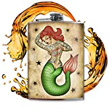 Tattooed Mermaid Rocker Flask - Flasks For Liquor For Men - Flasks For Liquor For Women - Flask For Women - Cool Gifts For Women And Men - 8 Oz Stainless Steel Flask - Hip Flask - Trixie and Milo