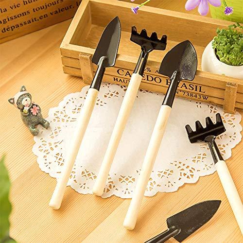 TOPVORK Multifunción 3 uds herramienta de rastrillo de pala de mano de jardín Mini juego de herramientas de planta ligera trasplantadora de paleta de jardinería
