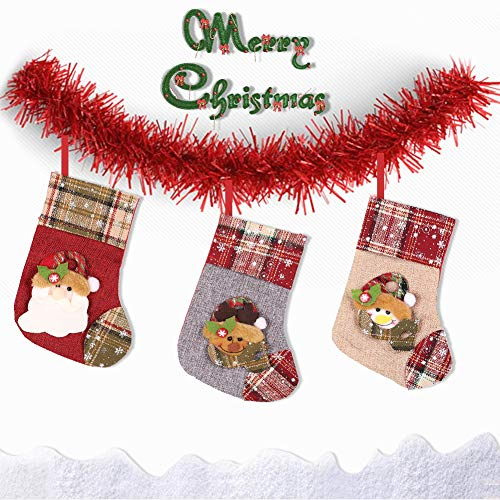 laqula Christmas Stockings - 3 Pack 9.1'' Small Xmas Hanging Stocking Decoration with 3D Snowman, Santa and Reindeer for Christmas Home Decorations and Party Accessory