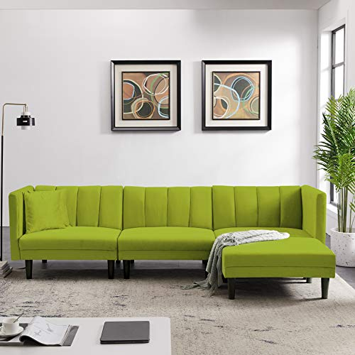 Convertible Sectional Sofa Bed - AiChuangHome SC043 Modern Tufted Velvet Futon Sofa Sleeper with 2 Pillows for Living Room
