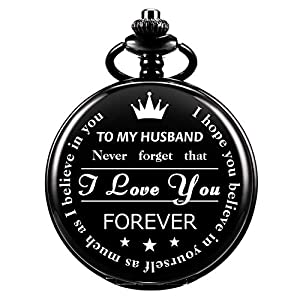 ManChDa Mens Womens Quartz Personalized Pocket Watch Engraved Engraving Customized with Chain Gift Box Gift for Husband Dad Groomsmand Bestman Grandson