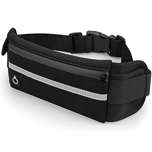 Black Running Belt Waterproof Adjustable Waist Pack, Waist Bag for iPhone X/Xr/Xs Max/8/7 Plus/6S, Samsung S8/S7, Note 9, Edge, LG, Slim Fanny Pack for Men Women Running Jogging Climbing GYM Outdoor