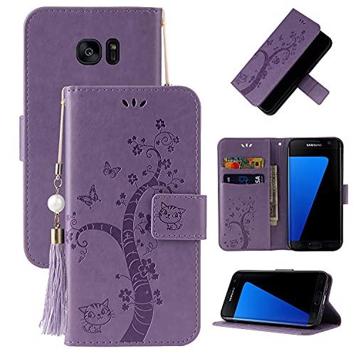 Teléfono Flip Funda Shell Flip Funda para Samsung Galaxy S7 Edge, cubierta de la billetera de cuero PU [Función de soporte] con el bolsillo de la ranura ID y las tarjetas de crédito, Cierre magnético