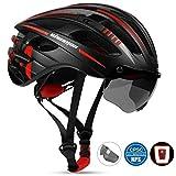 Shinmax Casco de Bicicleta,con Visera Magnética Extraíble,Certificación CE Casco Bicicleta,Protección para Montar Ski & Snowboard Unisex Cascos Bici Adultos,con luz Trasera LED Recargable