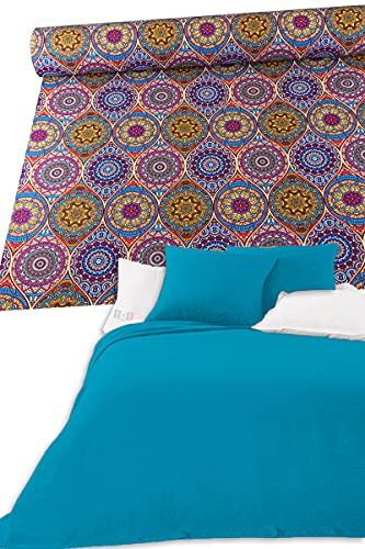 Colcha de algodón para cama individual de una plaza y media, fantasía artesanal, primaveral, verano, manta multiusos para sofá, gran foulard (Desygual_3, 1plaza y media)