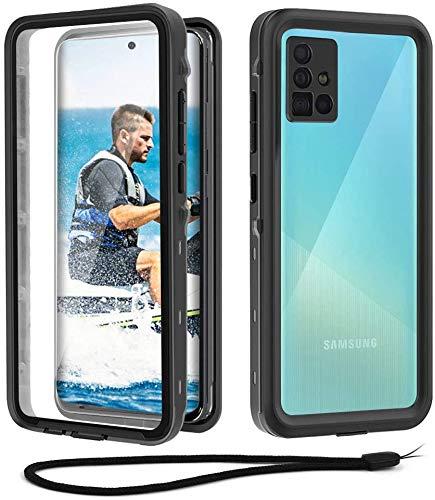 Beeasy Samsung A51 4G Outdoor Hülle,IP68 Zertifiziert wasserdichte Handyhülle,360 Grad Schutzhülle mit Eingebautem Displayschutz,Staubdicht Schneefest Stoßfest Cover Case,Schwarz