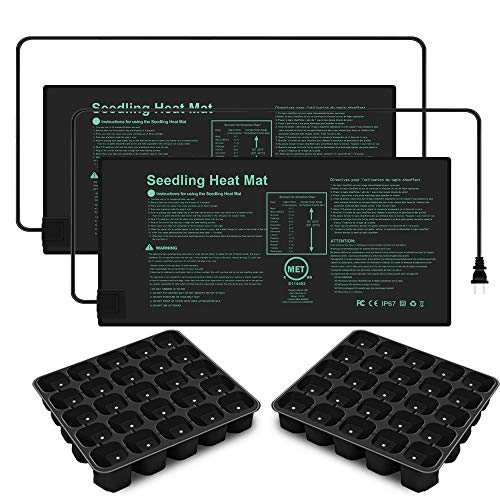 """JOURMON Seedling Heat Mat 2-Pack 10"""" X 20.75"""" with Seed Starter Trays,Hydroponic Heating Pad Waterproof for Seed Germination Cloning and Plant Propagation,MET Standard"""