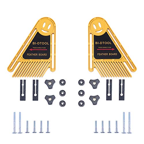 BI-DTOOL Double Featherboards, 2 Packs Adjustable Feather Boards for Table Saw Bandsaw Fence Router Table and Table Saw Fence, Woodworking Router Table Accessories, Band-saw Accessories