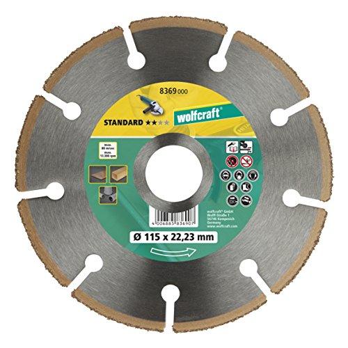 Wolfcraft 8369000 Disco de corte amoladora para cortar madera con clavos HM, 0 W, 0 V, 115 x 22.23 mm