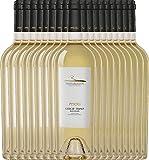 VINELLO 18er Weinpaket Weißwein - Pipoli Greco Fiano IGT 2020 - Vigneti del Vulture mit einem VINELLO.weinausgießer | trockener Weißwein | italienischer Sommerwein aus Basilikata | 18 x 0,75 Liter