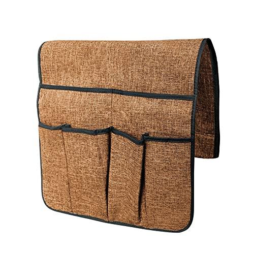 Organizador de sofá grande con control remoto de TV, funda de almacenamiento antideslizante para reposabrazos, bolsa de almacenamiento con 6 bolsillos