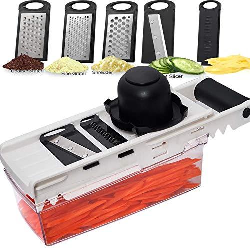 LHS Mandoline Slicer  5 in 1 Veggie Slicer Dicer Cutter Shredder and Julienne  Kitchen Heavy Duty Manual Food Slicer for Fruits and Vegetables Handheld mandoline and Grater with Container