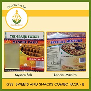 The Grand Sweets & Snacks : Sweets and Snacks Combo B (Contains 2 Items) GSS Mysore Pak 250g -1 Pkt & GSS Special Mixture 250g - 1 Pkt (B-P)
